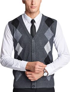 Fensajomon Mens Slim Fit V-Neck Knitted Woolen Pullover Sweater Vests Jumper Waistcoat Dark Blue XL