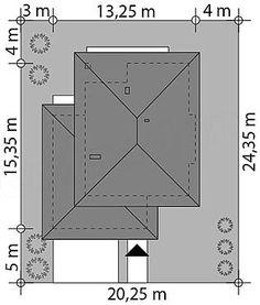 Usytuowanie projektu Korso na działce Modern Family House, Modern House Design, 2 Storey House Design, Small House Plans, Planer, Bungalow, Home And Garden, Construction, How To Plan
