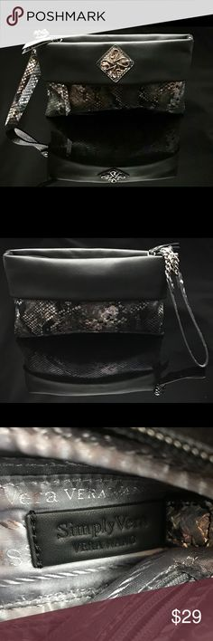 Simply Vera Wang Kohls Hollis Wristlet Purse Simply Vera Wang Kohls Hollis Wristlet Purse Python Snakeskin -  Black Trim Simply Vera Vera Wang Bags Satchels