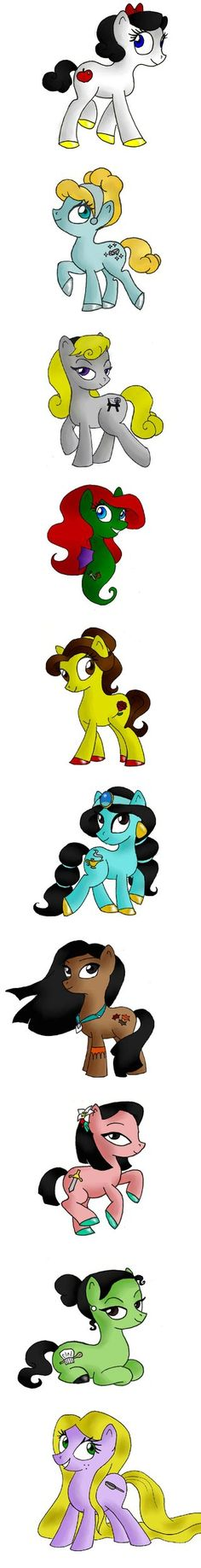 My little ponies- Disney princess style. Love! I just feel like Belle's should be a book instead of a rose, and Rapunzel's should be a lantern.