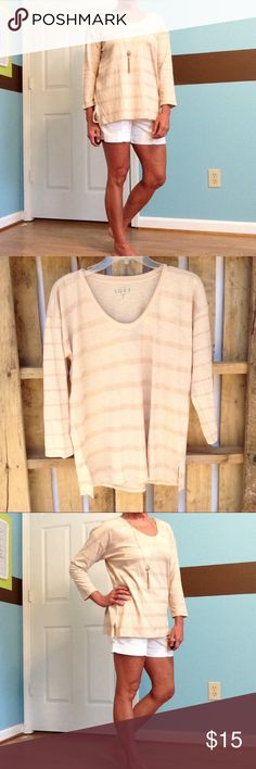 """LOFT shimmer stripe drapey tee So soft and comfy...and I feel it's very roomy for a M! Dropped shoulders 27"""" ↕️,  23"""" sleeves ( from neckline )  22"""" ↔️ bust LOFT Tops Blouses"""