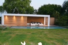 Modern Pool House, Modern Pools, Shed House Design Ideas, Buy Shed, Garden Cabins, Patio Storage, Garage Door Design, Shed Homes, Outdoor Pergola