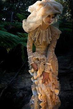 Modern Victorian editorial fashion photo.  Demure.