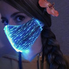 Light Up mask by YMYW Brand - RED - high density fiber optic fabric - very comfy - easy hand-washable - USB rechargeable battery - glows in 7 different colors and 3 different modes ( In Case of Return, we will charge Restocking Fee ) Mouth Mask Fashion, Fashion Face Mask, Diy Mask, Diy Face Mask, Ropa Burning Man, Burning Man Style, Outdoor Activities For Adults, Light Up Costumes, Rave Costumes