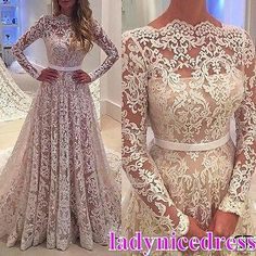 Vintage-Full-Lace-Appliques-Church-Wedding-Dress-Long-Sleeve-A-Line-Bridal-Gown