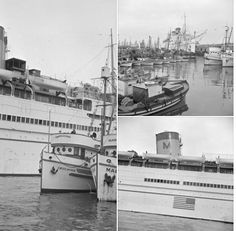 December 8, 1941 - Fisherman's Wharf, San Francisco - the day after Pearl Harbor, MATSONIA is prepared for an emergency voyage to Honolulu. She had just left days earlier to deliver supplies to the Orient, but was recalled to SF to assist with reinforcements needed in Hawaii. As part of the ship's conversion into a US Army Transport vessel, the photos show that the lanai suites have been closed off. Soon the ship's hull and stacks would be painted grey to make them less visible at sea.