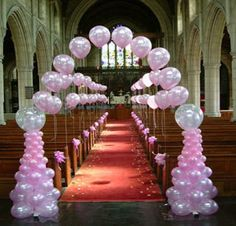 balloons decoration for the wedding aisle😚 Ballon Arch, Deco Ballon, Balloon Columns, Wedding Reception Entrance, Wedding Table, Diy Wedding, Dream Wedding, Church Wedding, Decor Wedding