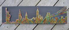 New York City Skyline  String Art  NYC  Nails & String on