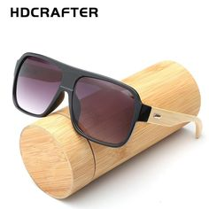 e81b7ec6602 HDCRAFTER Flat Top bamboo sunglasses with case