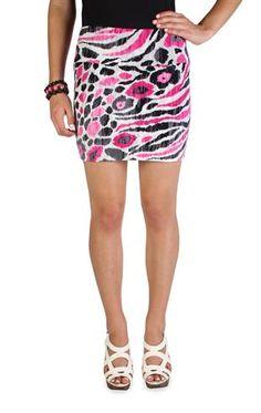 abstract mixed animal print bodycon skirt