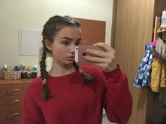 #hairstyle #iphone #hoodie #red #schooloutfit #hairidea