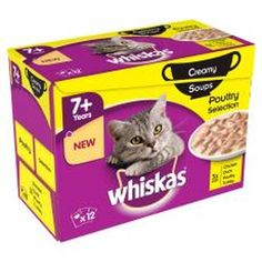Whiskas Pouch 7  Poultry Selection Creamy Soup 12x85g (Pack of 4)