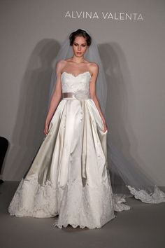 Alvina Valenta bridal gown- wedding gown, satin bottom with lace overlay on skirt, lace sweetheart top
