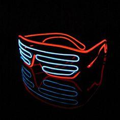 Lerway 2 Bicolor EL Wire Leuchtbrille Partybrille Club LED Brille + Standard Control Box für Masquerade Party Nacht Pub Bar Klub Rave (weiß + rot)