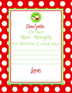 Letter To Santa  Free Printable  Free Printable Santa And Events