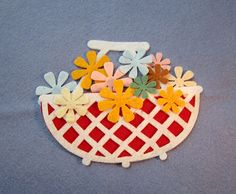 White felt wicker style basket with flowers felt cut by WhimsyFelt