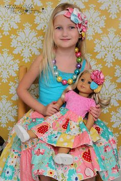Free Matching girl and doll patchwork skirt patterns by www.createkidscouture.com