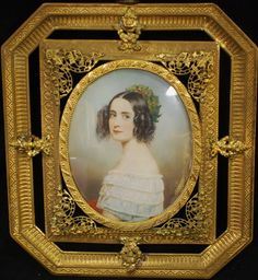 "Joseph Carl Stieler (1781 – 1858) Miniature portrait of Princess of Bavaria Alexandra (1826 –1875) on Ivory 3 1/8"" x 2 ½"", signed. Bronze frame 5 5/8"" x 5"""