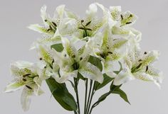Artificial Silk White Tiger Lily Bush for diy centerpieces and silk flower arrangements.