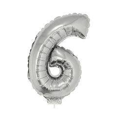 Zilveren opblaas cijfer 6 op stokje 41 cm. Zilveren cijfer 6 van ongeveer 41 cm. Incl. stokje. Door middel van het ballonstokje kun je de cijfers in een ondergrond plaatsen. Alleen geschikt voor lucht.