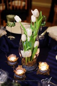 I would do a taller cylinder hurricane vase river rock in the bottom,only a few tall tulips clipped various lengths, with one just peeping out the top, a few twisty twigs, and maybe 3 other spring flower variables clipped to varied lengths.