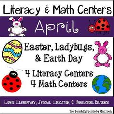 April Themed Literacy & Math Centers:  Easter, Ladybugs & Earth Day Themed Centers for K-2nd, Special Education & Home Schooled Children.  Centers include:  Bunny Make A Word Game; April Roll It!  Read It Short Vowel Sounds; Ladybug Real & Nonsense Words; Earth Sight Word Games; Eggs Ten Frame Match; Monster Number Roll; Earth Day Greater Than, Less Than or Equal Clip Gam & April Roll & Cover.  Kids have some holiday fun while learning!
