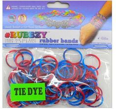Tie Dye Rubbzy Loose Rubber Bands Blue and Red >>> Learn more by visiting the image link.