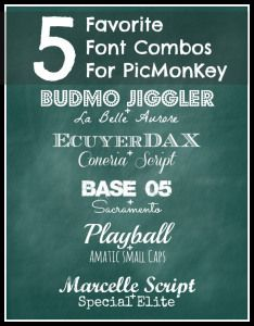 Favorite Font Combos for PicMonkey~~no link for fonts, just use for ideas