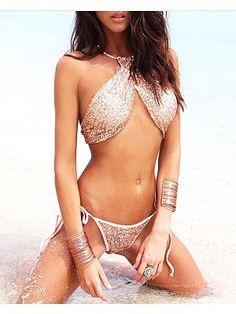 b395b04ec7 Halter Glitter Plain Bikini  NewArrival  WomensTrendingFashion  Boho   FlatteringFit affiliate  GlitterBikini