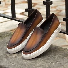 Handcrafted Custom Made Belgian Sneaker in Italian Raw Crust Leather with a Cognac Hand Patina From Robert August. Create your own custom designed shoes. Loafer Shoes, Loafers Men, Oxfords, Men's Shoes, Dress Shoes, Shoes Men, Flat Shoes, Suits And Sneakers, Sneakers Fashion