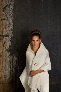 White felt wedding shawl.  Beautiful!