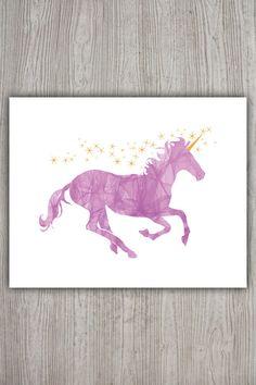 Pink Unicorn Art Pink Yellow Nursery Glitter by PRINTANDPROUD