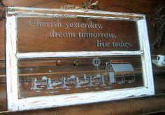 Etched vintage window. We etch by sand blast method…