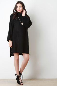 Over-sized Chunky Knit Cowl Neck Sweater Dress   #TopazeFashion #dresses