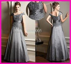 Wholesale Mother of the Bride Dresses - Buy Elegant A Line Silver Cap Sleeve Lace Long Plus Size Mother of the Bride Dresses Gowns M1763, $128.0 | DHgate