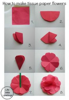 Making paper flowers with children – Beautiful ideas and craft instructions - ORIGAMI Tissue Flowers, Paper Flowers Craft, Paper Flower Wall, Giant Paper Flowers, Flower Crafts, Diy Flowers, Fabric Flowers, Dahlia Flowers, Paper Roses