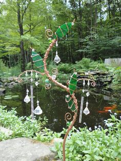 SALE Healing Garden Garden Stake Wind Chimes by JewelsInTheGarden