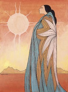 """""""Let me give up the need to know why things happen as they do. I will never know and constant wondering is constant suffering. """" ~ Unknown Artist: Maxine Noel Title: A New Dawn lis Native American Paintings, Native American Artists, Arte Inuit, Southwestern Art, American Indian Art, American Decor, Canadian Art, Arte Popular, Indigenous Art"""