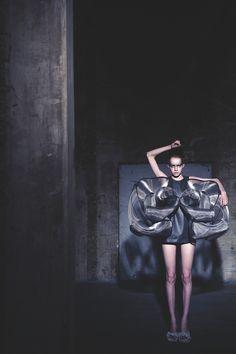 Sculptural Fashion - refinery smoke dress with sculpted metal gauze; conceptual fashion design // Iris van Herpen