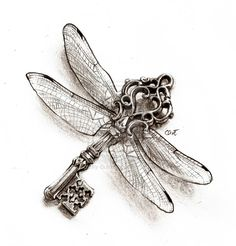 Key of the Dragonfly Harry Potter (Tattoo) by Cassy-Butterfly on deviantART Hp Tattoo, Key Tattoos, Love Tattoos, Beautiful Tattoos, Chain Tattoo, Sternum Tattoo, Tatoos, Dragonfly Drawing, Dragonfly Tattoo