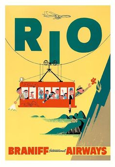 Rio Digital Art - Rio Cable Car To Sugar Loaf Mountain Brazil Vintage Travel Poster by