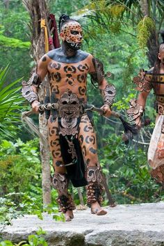 Mayan Dancer Representing Jaguar in Xcaret, Riviera Maya, Yucatan, Mexico. Riviera Maya, Costume Ethnique, Aztec Warrior, Inka, Mesoamerican, First Nations, World Cultures, People Around The World, British Library