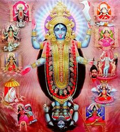 Kali Maa with the Mahavidyas Durga Kali, Kali Hindu, Kali Mata, Hindu Art, Shiva Art, Shiva Shakti, Mother Kali, Divine Mother, Kali Goddess