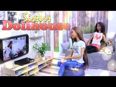 DIY - How to Make: Sisters Dollhouse EXTREME CRAFT Working Television Room & Backyard - 4K - YouTube