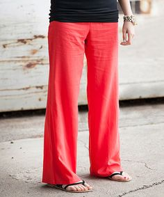 Look what I found on #zulily! Coral Shoreline Linen-Blend Pants - Women by Sawyer Cove #zulilyfinds
