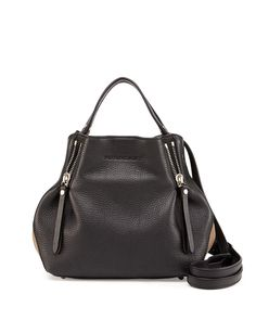 Leather Small Zip Tote Bag, Black
