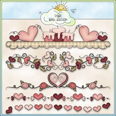 Valentine Borders 1 - Non-Exclusive Trina Clark Clip Art : Digi Web Studio, Clip Art, Printable Crafts & Digital Scrapbooking!