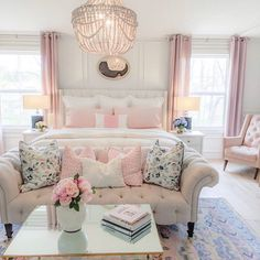 Happy Monday friends 💗This DIY was one of my favorite prolly because it cost nothing but changed everything. Her hand me down dresser, free… Pink Master Bedroom, Feminine Bedroom, Pretty Bedroom, Elegant Girls Bedroom, Glam Bedroom, Pink Bedrooms, Teen Bedroom, Feminine Decor, Woman Bedroom