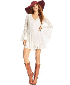 American Rag Bell-Sleeve Lace Mini Dress - Dresses - Women - Macy's