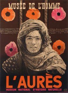 #Affiche #Algérie. Vintage #Poster #Algeria. Poster #Algerien #aures musee de l'homme : 1943 affiches anciennes de FALCK Jarl